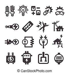 ikona, elektryczny, elektronowy