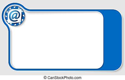 ikona, email, strzały, boks, błękitny, tekst