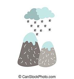 ikona, góry, śnieg