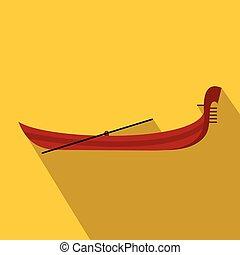 ikona, gondola, styl, płaski