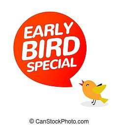 ikona, icon., ptáci standarta, prodej, vektor, časný, nabídnout, karikatura, firma, promo, rabat, speciální