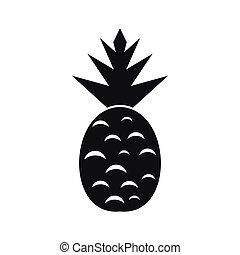 ikona, jednoduchý, móda, ananas