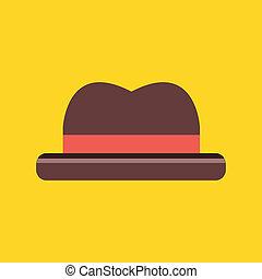 ikona, kapelusz, wektor