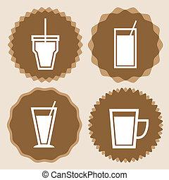ikona, kawa wystawiają, symbole, filiżanka