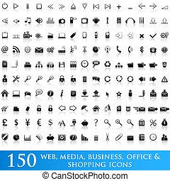 ikona, komplet, dla, sieć, zastosowania