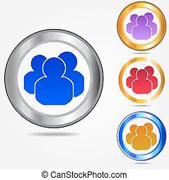 ikona, komplet, grupa, barwny, ludzie