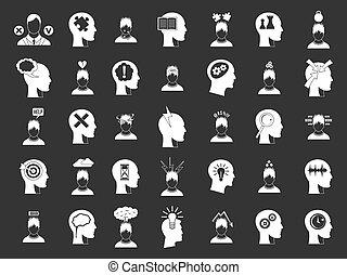 ikona, komplet, szary, ludzki, idea