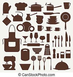 ikona, komplet, utensils., kuchnia, restauracja
