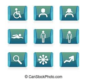 ikona, komplet, wektor, ludzie