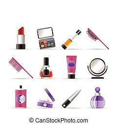 ikona, kráska, uspořádání, kosmetický