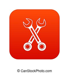 ikona, krzyżowany, spanners, czerwony, cyfrowy