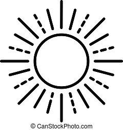 ikona, lato, styl, szkic, słońce