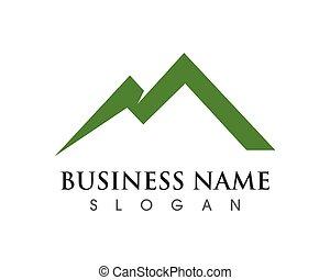 ikona, logo, handlowy, góra