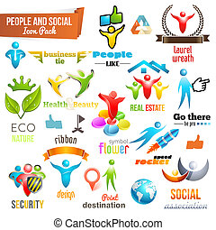 ikona, ludzie, symbol, współposiadanie, towarzyski, 3d, opakujcie