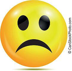 ikona, nieszczęśliwy, smiley, połyskujący