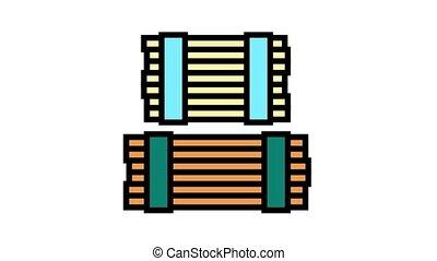 ikona, ożywienie, deska, kolor, drewniany, magazyn