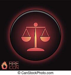 ikona, o, ta, slupka k soudce, ., znak, o, soudce