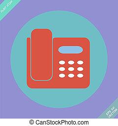 ikona, o, telefon, osamocený, -, vektor, illustration.