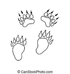ikona, od, niedźwiedź, ślady