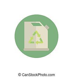 ikona, opał, bio, kloc, zielony, energia, kanister
