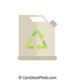 ikona, opał, bio, zielony, energia, kanister