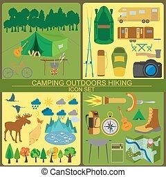ikona, outdoors., hiking, komplet, obozowanie