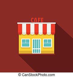 ikona, płaski, kawiarnia, style.