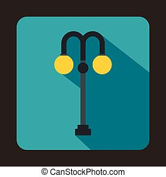 ikona, płaski, lampa, uliczny styl