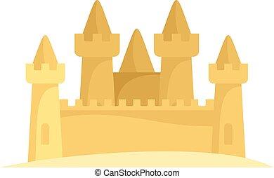 ikona, płaski, piasek zamek, styl
