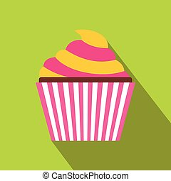 ikona, płaski, styl, cupcake