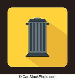 ikona, płaski, styl, ulica, śmieci