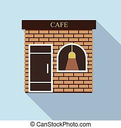 ikona, płaski, styl, ulica, kawiarnia