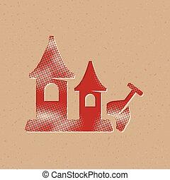 ikona, piasek zamek, -, halftone