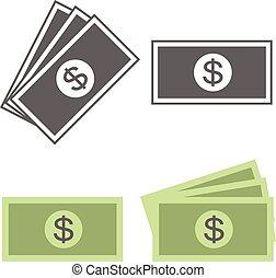ikona, pieniądze, wektor, halabarda dolara
