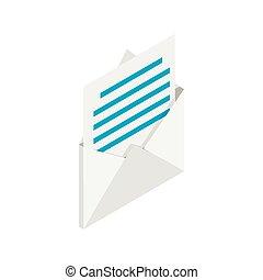 ikona, poczta, isometric, styl, 3d