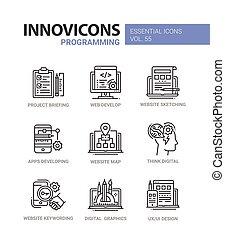 ikona, programování, set., moderní, -, vektor, design, řádka