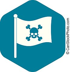 ikona, prosty, bandera, styl, pirat