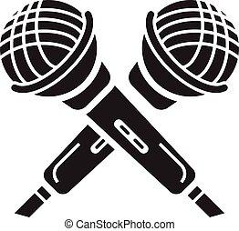 ikona, prosty, mikrofon, krzyżowany, styl
