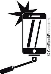 ikona, prosty, selfie, styl, wziąć