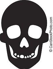 ikona, prosty, styl, czaszka
