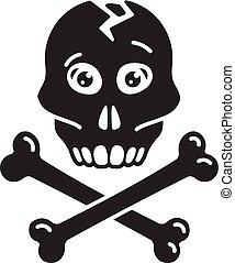 ikona, prosty, styl, czaszka, kość