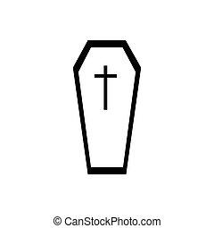 ikona, prosty, styl, trumna