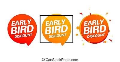 ikona, ptáci standarta, set., prodej, vektor, časný, nabídnout, karikatura, firma, promo, rabat, speciální