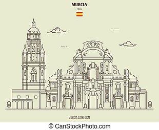ikona, punkt orientacyjny, spain., katedra, murcia