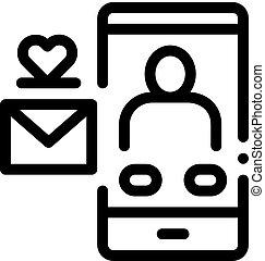 ikona, romantyk, szkic, ilustracja, wektor, wiadomość