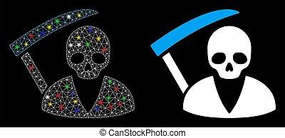 ikona, síť, scytheman, oko, bradavičky, plápolat