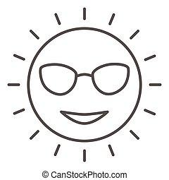 ikona, słoneczny, wektor, znak, twarz, okulary, sprytny, graphics., styl, pojęcie, sieć, biały, uśmiechanie się, szkic, design., kreska, ikona, pojęcie, cienki, rejs, ruchomy, morze, tło słońca