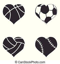 ikona, serce, piłka