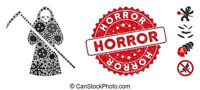 ikona, smrt, koláž, kolem, biohazard, pečeť, textured,...