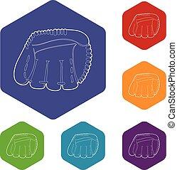 ikona, styl, baseball, szkic, rękawiczka